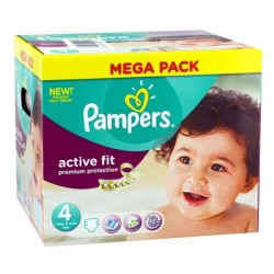 Pack 82 Couches Pampers Active Fit - premium protection taille 4 sur Promo Couches