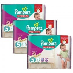 Pack 34 Couches Pampers Active Fit Pants taille 5 sur Promo Couches