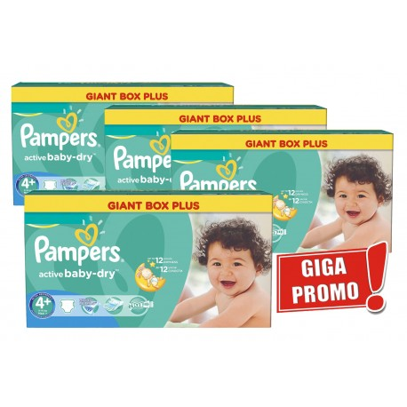 Pack jumeaux 800 Couches Pampers Active Baby Dry taille 4+ sur Promo Couches