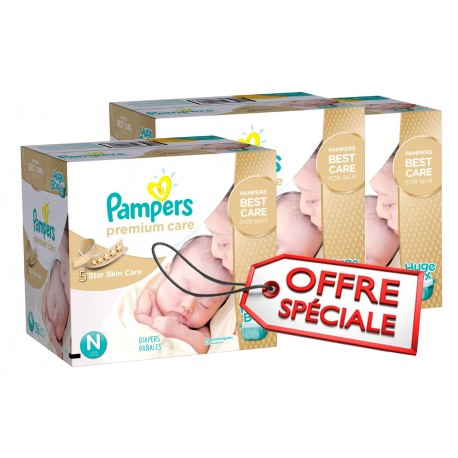 Pack jumeaux 880 Couches Pampers Premium Care taille 1 sur Promo Couches