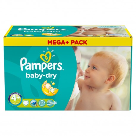 Mega pack 164 Couches Pampers Baby Dry taille 4+ sur Promo Couches