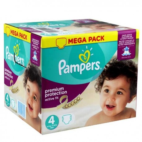 Maxi mega pack 492 Couches Pampers Active Fit Premium Protection taille 4 sur Promo Couches