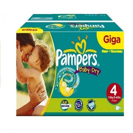 132 Couches Pampers Baby Dry taille 4 sur Promo Couches