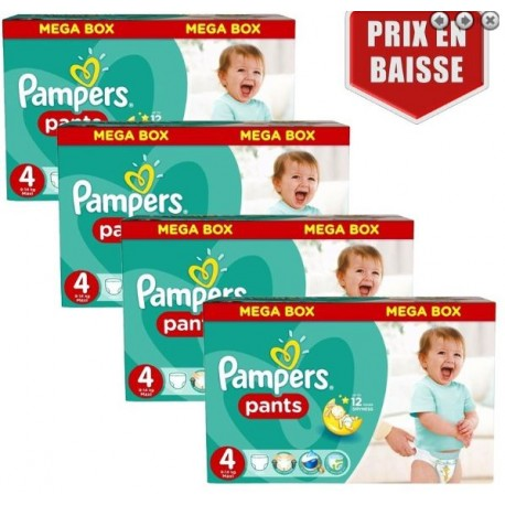 Pack jumeaux 580 Couches Pampers Baby Dry Pants taille 4 sur Promo Couches