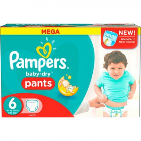 Pack 46 Couches Pampers Baby Dry Pants taille 6 sur Promo Couches