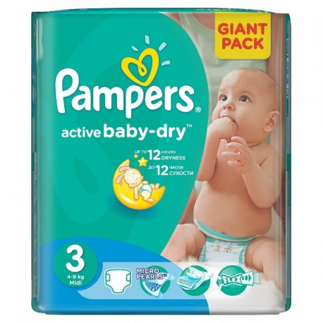 Pack 82 Couches Pampers Active Baby Dry taille 3 sur Promo Couches