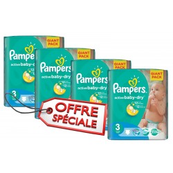 Mega pack 164 Couches Pampers Active Baby Dry taille 3 sur Promo Couches