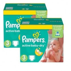 Maxi giga pack 328 Couches Pampers Active Baby Dry taille 3 sur Promo Couches