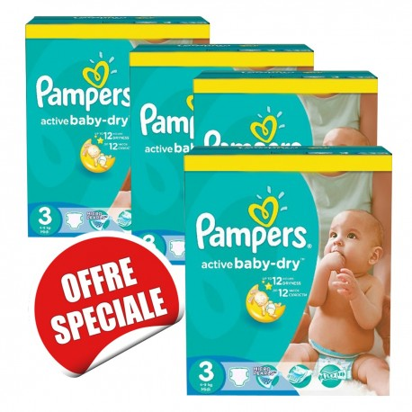 Pack jumeaux 574 Couches Pampers Active Baby Dry taille 3 sur Promo Couches