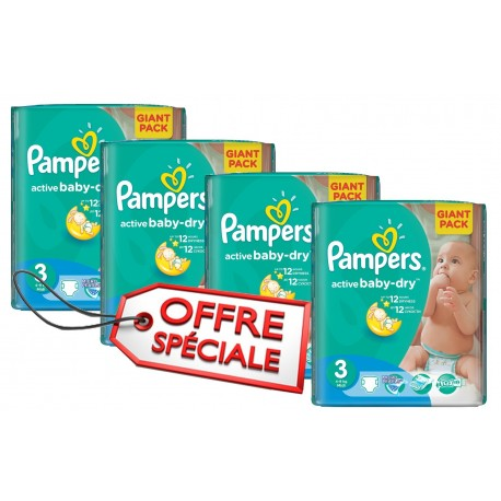 Pack jumeaux 656 Couches Pampers Active Baby Dry taille 3 sur Promo Couches