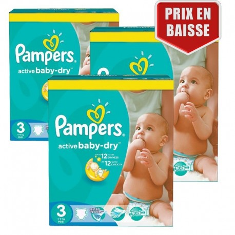 Pack jumeaux 738 Couches Pampers Active Baby Dry taille 3 sur Promo Couches