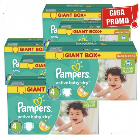 Pack jumeaux 770 Couches Pampers Active Baby Dry taille 4 sur Promo Couches