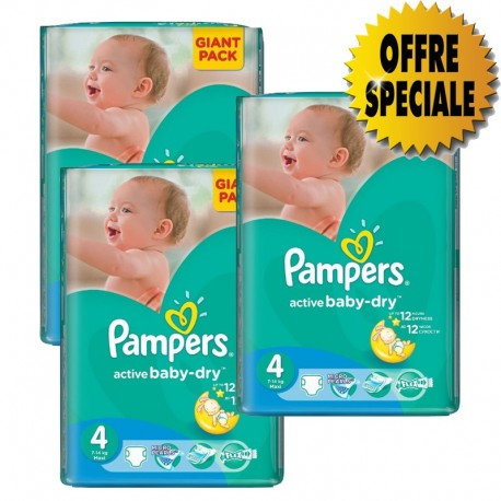 Pack jumeaux 840 Couches Pampers Active Baby Dry taille 4 sur Promo Couches