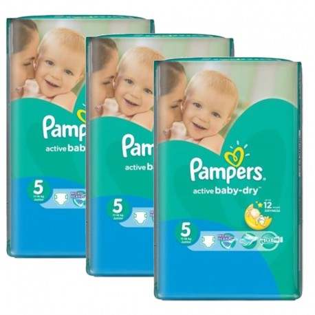 Pack jumeaux 540 Couches Pampers Active Baby Dry taille 5 sur Promo Couches