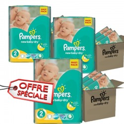 Pack jumeaux 576 Couches Pampers New Baby Dry taille 2 sur Promo Couches