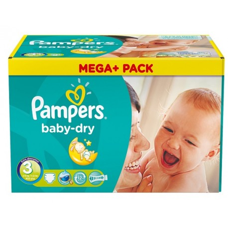 Maxi giga pack 348 Couches Pampers Baby Dry taille 3 sur Promo Couches