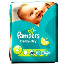 Pack 58 Couches Pampers Baby Dry taille 2