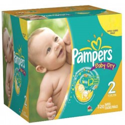 Maxi giga pack 348 Couches Pampers Baby Dry taille 2 sur Promo Couches