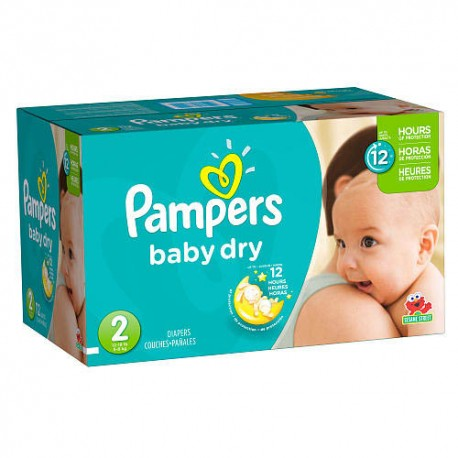 Maxi mega pack 406 Couches Pampers Baby Dry taille 2 sur Promo Couches