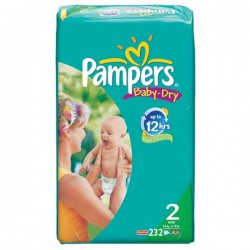 Pack jumeaux 754 Couches Pampers Baby Dry taille 2 sur Promo Couches