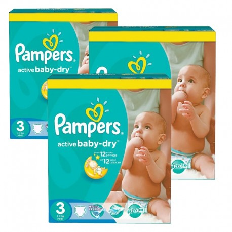 Pack 30 Couches Pampers Active Baby Dry taille 3 sur Promo Couches