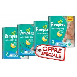 Mega pack 165 Couches Pampers Active Baby Dry taille 3 sur Promo Couches