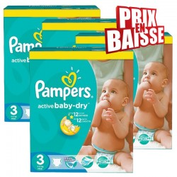 Mega pack 195 Couches Pampers Active Baby Dry taille 3