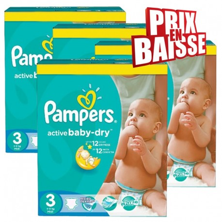 Mega pack 195 Couches Pampers Active Baby Dry taille 3 sur Promo Couches