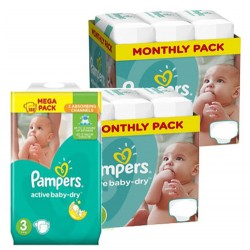 Giga pack 210 Couches Pampers Active Baby Dry taille 3 sur Promo Couches