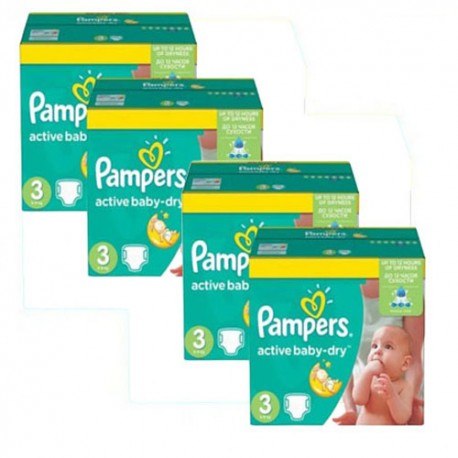 Giga pack 255 Couches Pampers Active Baby Dry taille 3 sur Promo Couches