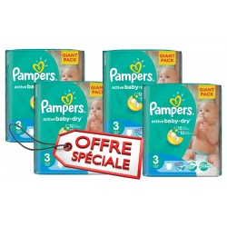 Giga pack 285 Couches Pampers Active Baby Dry taille 3