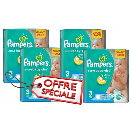 Giga pack 285 Couches Pampers Active Baby Dry taille 3 sur Promo Couches