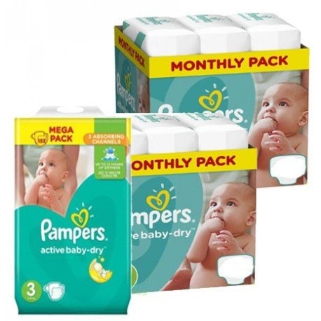 Maxi giga pack 300 Couches Pampers Active Baby Dry taille 3 sur Promo Couches