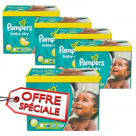 Pack jumeaux 504 Couches Pampers Baby Dry taille 5+ sur Promo Couches