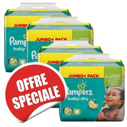 Pack jumeaux 756 Couches Pampers Baby Dry taille 5+ sur Promo Couches