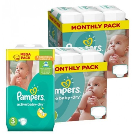 Pack jumeaux 1020 Couches Pampers Active Baby Dry taille 3 sur Promo Couches