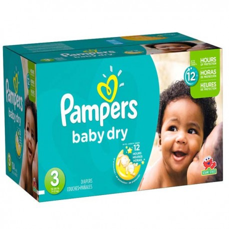 Pack jumeaux 1160 Couches Pampers Baby Dry taille 3 sur Promo Couches