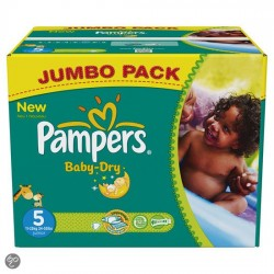 Pack jumeaux 608 Couches Pampers Baby Dry taille 5