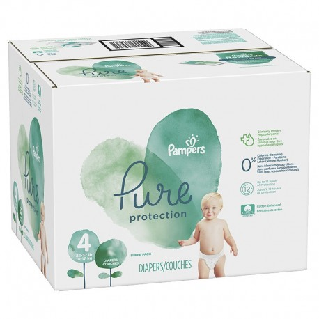 Maxi giga pack 336 Couches Pampers Pure Protection taille 4 sur Promo Couches