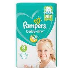 Pack 28 Couches Pampers Baby Dry taille 8 sur Promo Couches