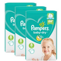 Mega pack 196 Couches Pampers Baby Dry taille 8 sur Promo Couches