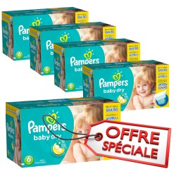 Pack jumeaux 576 Couches Pampers Baby Dry taille 6