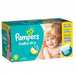 Pack jumeaux 768 Couches Pampers Baby Dry taille 6