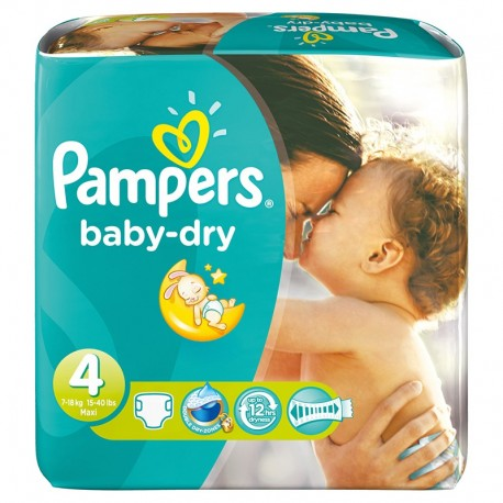 Pack 25 Couches Pampers Baby Dry taille 4 sur Promo Couches