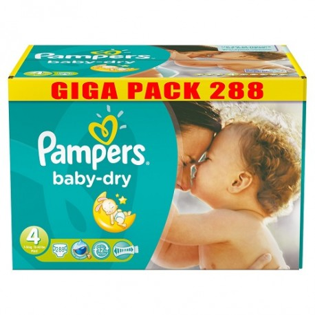 Pack jumeaux 525 Couches Pampers Baby Dry taille 4 sur Promo Couches