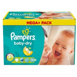 Pack 90 Couches Pampers Baby Dry taille 3 sur Promo Couches