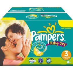 Maxi giga pack 330 Couches Pampers Baby Dry taille 3