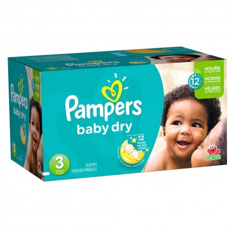 Maxi giga pack 390 Couches Pampers Baby Dry taille 3 sur Promo Couches