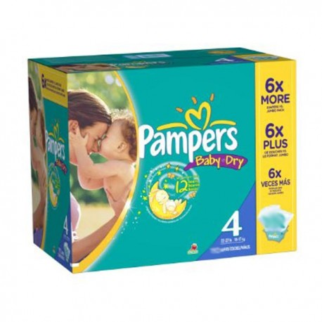 Pack 98 Couches Pampers Baby Dry taille 4 sur Promo Couches