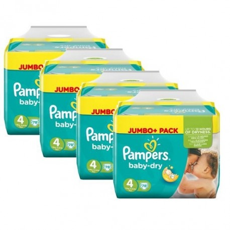 Pack jumeaux 784 Couches Pampers Baby Dry taille 4 sur Promo Couches